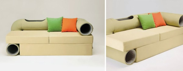 A Sofa With A Pipe So Cats Can Comfortably Play